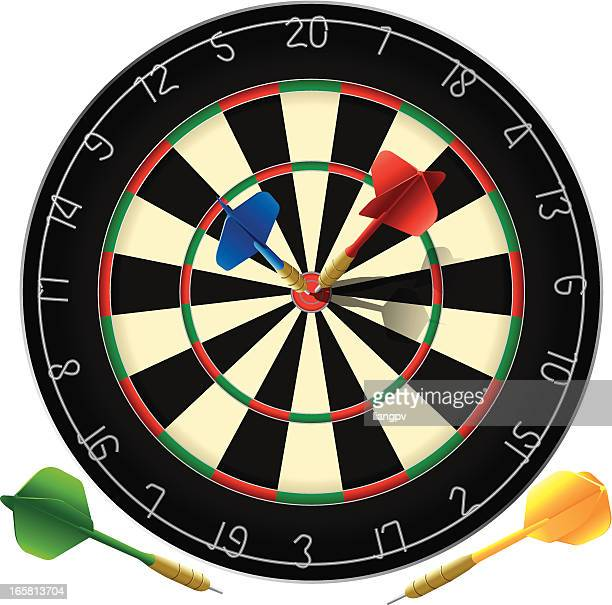 a poster of a dartboard with the bulls eye target - dart stock illustrations, clip art, cartoons, & icons