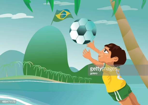 poster of an brazilian boy is catching the football