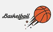 Poster of Basketball game. Flying Basketball ball with stars. Vector illustration