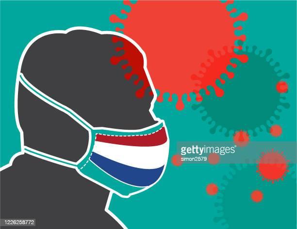 illustrations, cliparts, dessins animés et icônes de affiche de l'homme avec masque facial et drapeau néerlandais pour réduire le risque d'attraper coronavirus covid-19 éclosion - confinement clip art