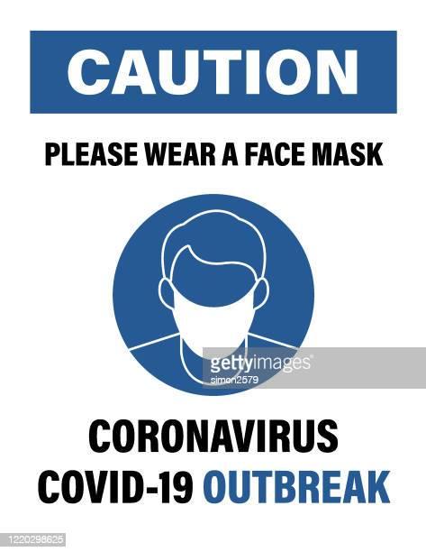 コロナウイルスcovid-19の流行をキャッチするリスクを減らすためのフェイスマスクを持つ男のポスター - マスク点のイラスト素材/クリップアート素材/マンガ素材/アイコン素材