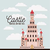 poster of pink castle princesses and fairy tales with castle and colorful sky background