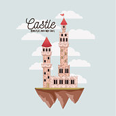 poster of pink castle princesses and fairy tales with colorful small castle in the sky