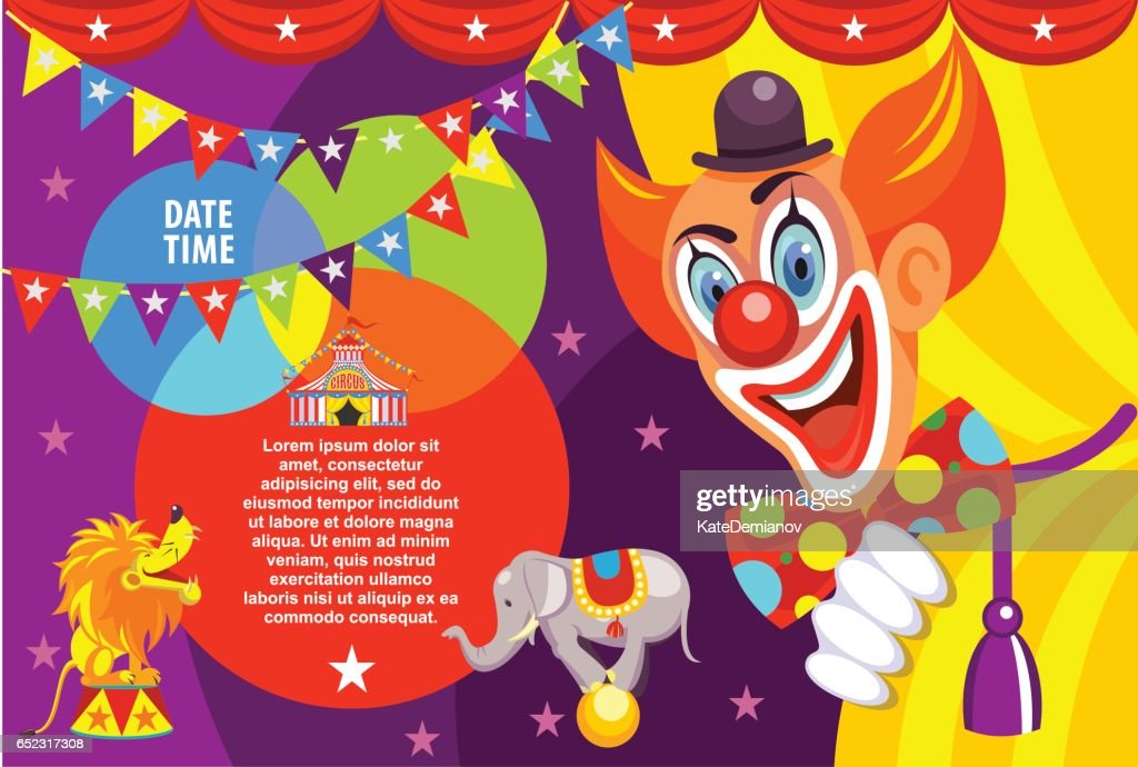 Poster of the circus. Happy clown invites you to the circus. Vector illustration.