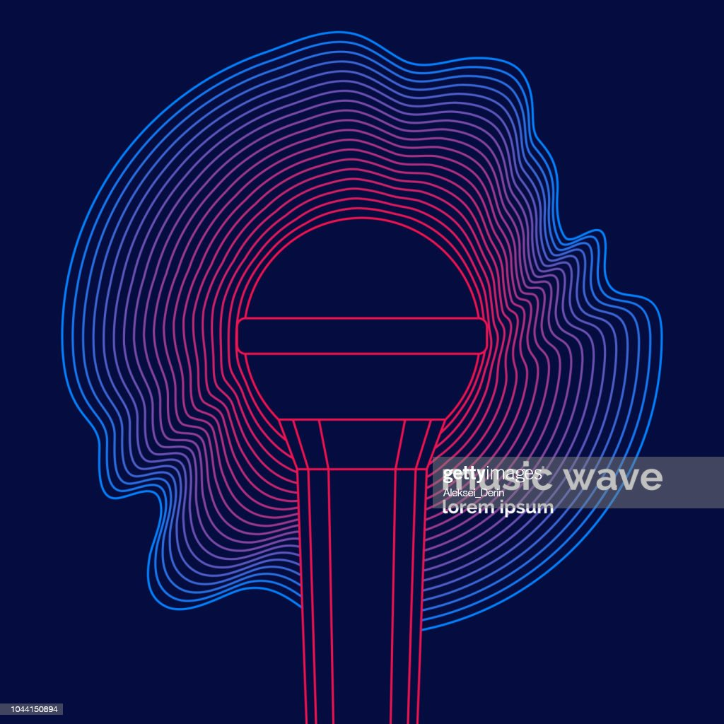Poster of the sound microphone. Vector illustration of recording music