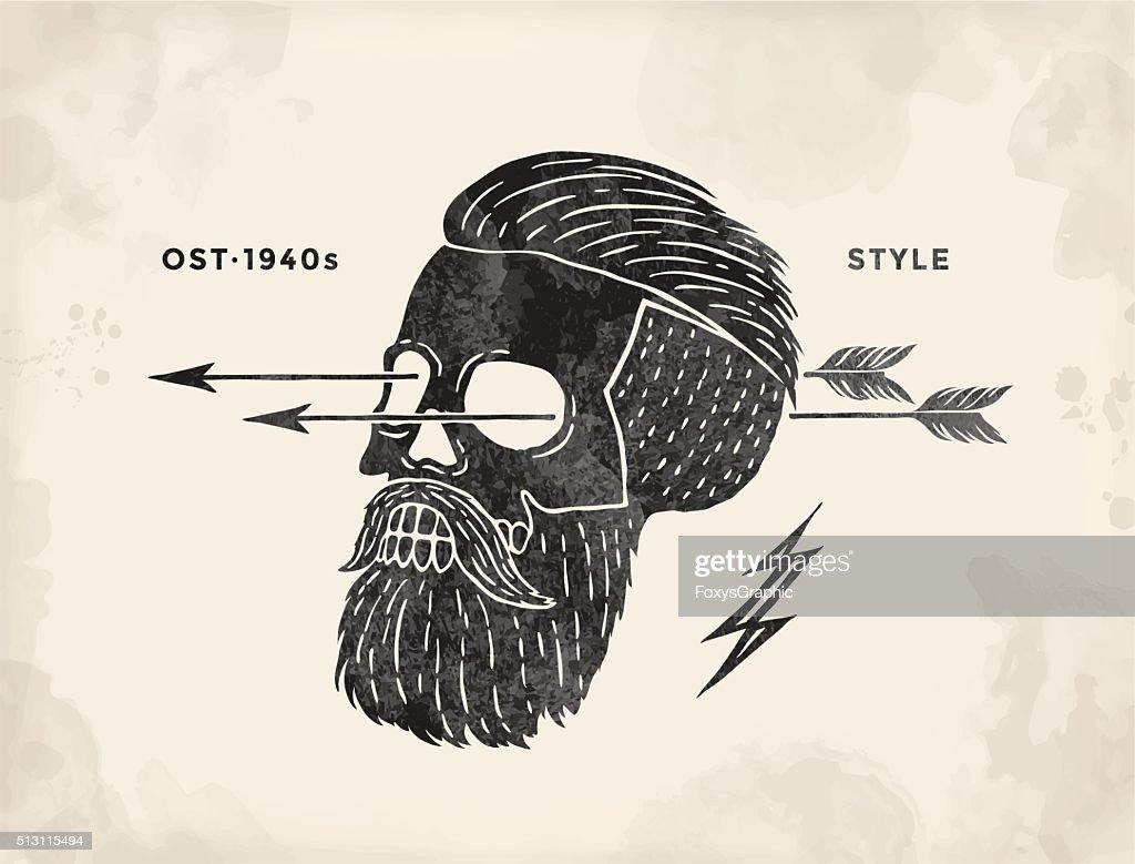 Poster of vintage skull hipster label. Retro old school set