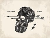 Poster of vintage skull hipster label. Retro old school set