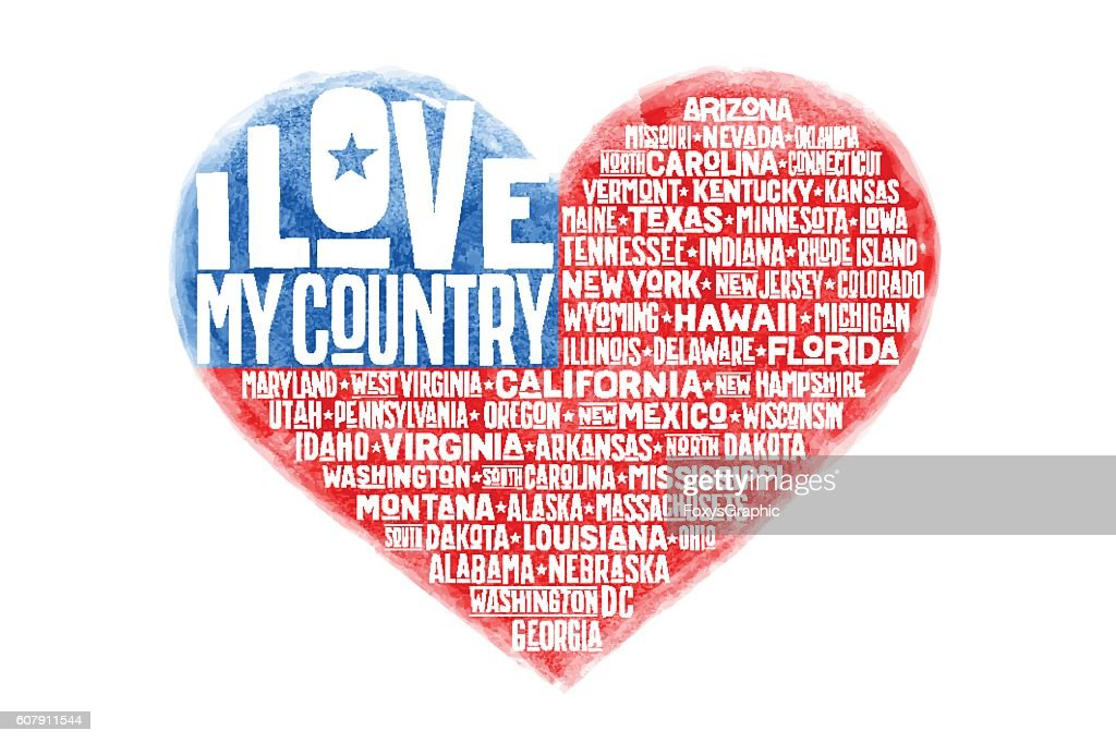 Poster of watercolor heart shape United State America flag
