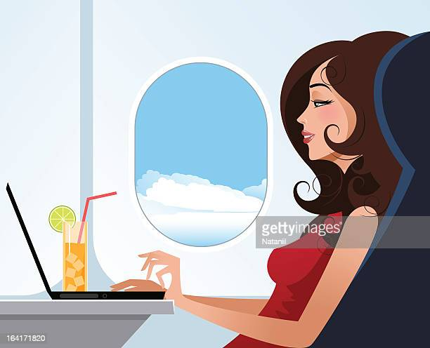 Poster of woman enjoying plane experience during traveling