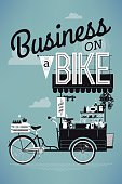 Poster or banner template on Business on bike