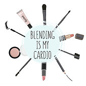 Poster quote 'blendind is my cardio'. Hand drawn cosmetics set: brushes, lipstick, lipgloss, pencil. Makeup art vector products. Fashion illustration.