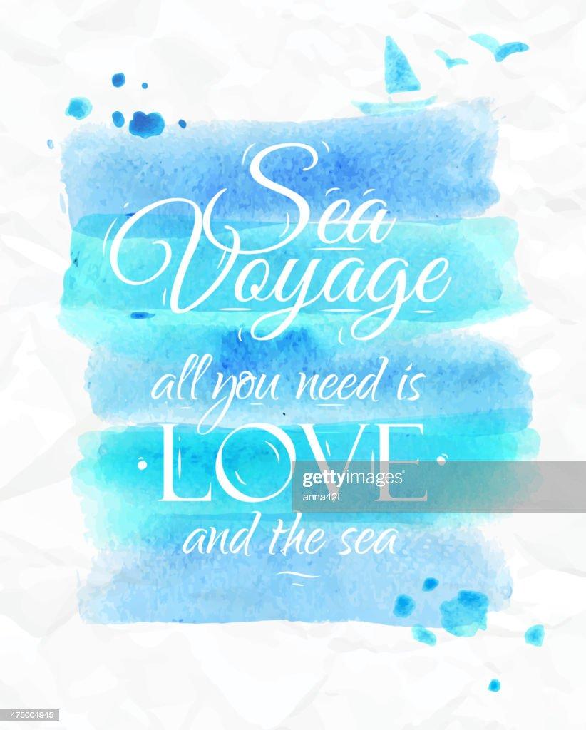 Poster Sea voyage  in blue tones.