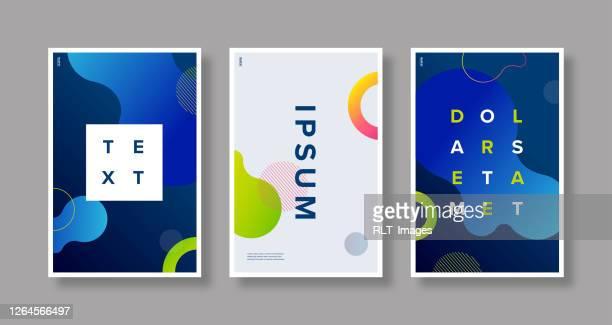 poster-set-design-vorlage mit abstrakten fluid gradient grafiken - poster stock-grafiken, -clipart, -cartoons und -symbole