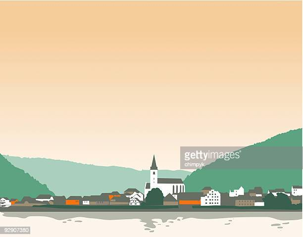 illustrations, cliparts, dessins animés et icônes de affiches ville allemande - village