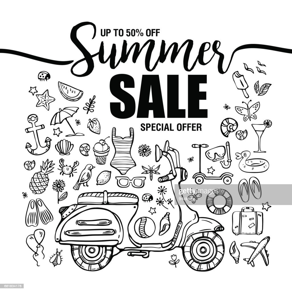 poster summer sales, set of black icons and symbols with motorbike on white background