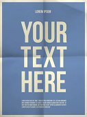 Poster template on folded in four paper texture