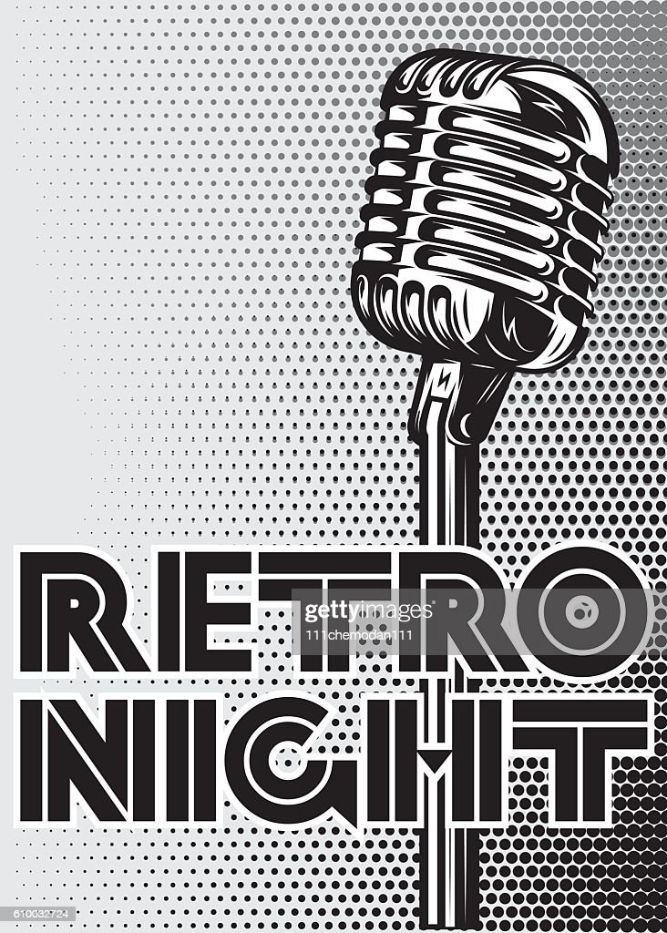 poster with a vintage microphone on gray background for advertising