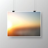 Poster with abstract background, blurred sunset, isolated on white background