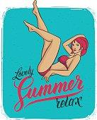 Poster with beautiful young woman in bikini