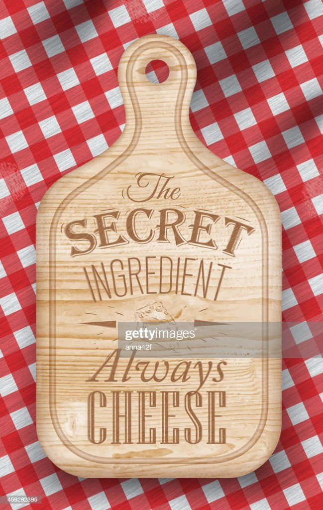 Poster with bread cutting light brown wood color. Cheese.