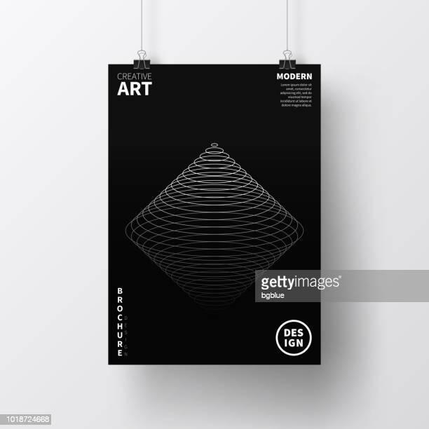 Poster mit dunklen geometrische Gestaltung, isoliert auf weißem Hintergrund