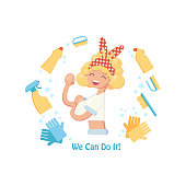 Poster with girl, cleaning tools and text: we can do this