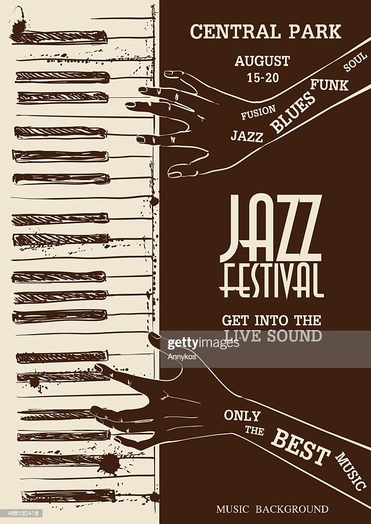Poster with human hands playing the piano