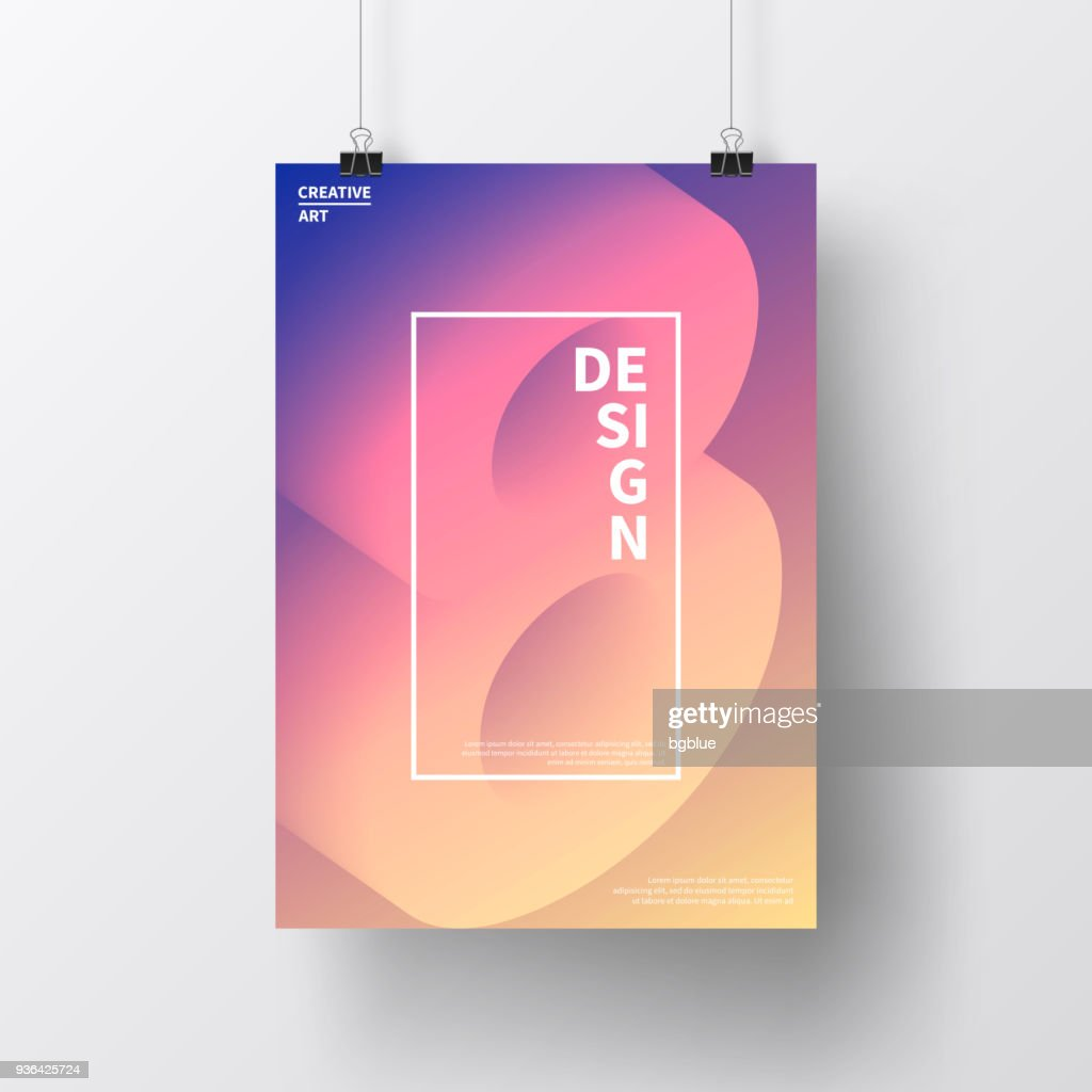 Poster with number eight 8 colorful, isolated on white background