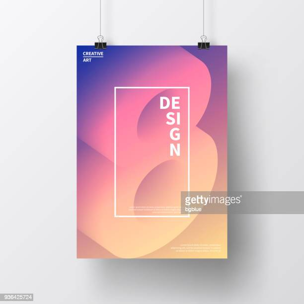poster with number eight 8 colorful, isolated on white background - poster stock illustrations