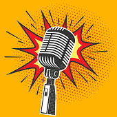 Poster with old microphone in pop art style. Design element