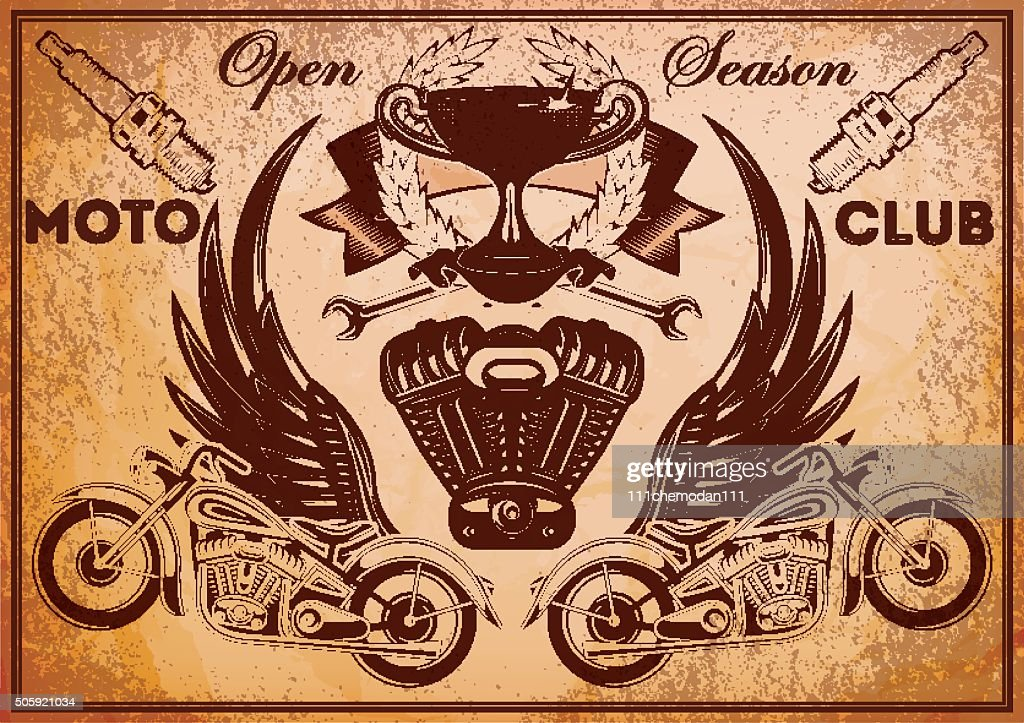 poster with vintage motorcycle and accessories for opening of season