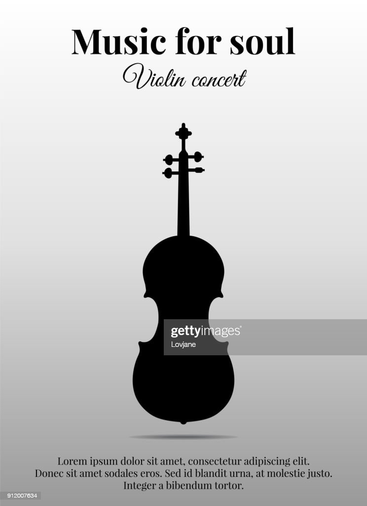 Poster with violin. Black silhouette. Vector illustration