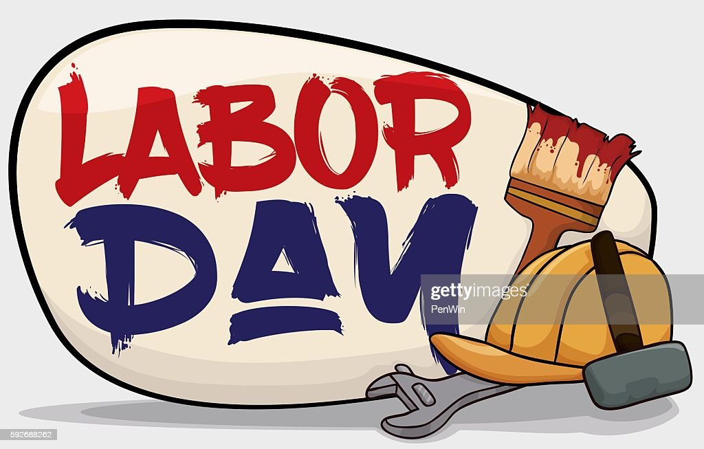 Poster with Worker Equipment to Celebrate Labor Day