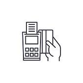 POS-terminal linear icon concept. POS-terminal line vector sign, symbol, illustration.