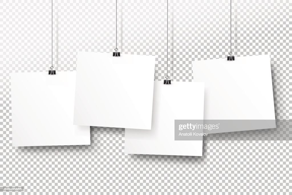 Posters on binder clips. White notepad paper templates. Realistic vector illustration. Empty mockup frames for your drawings, quotes or lettering. Transparent background