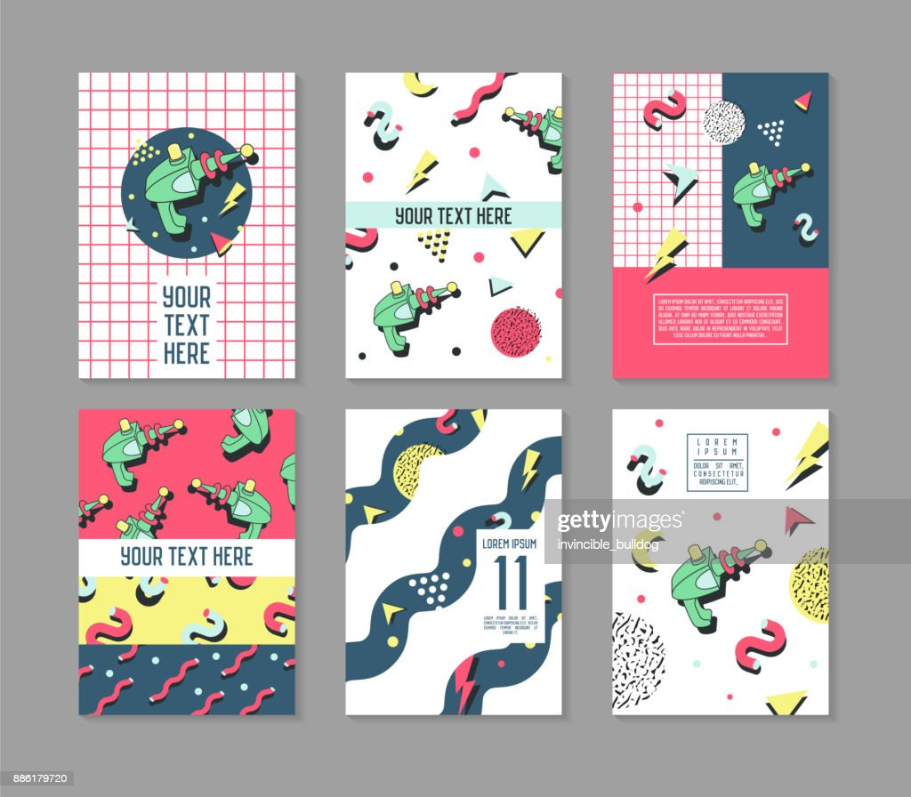 Posters Set Space Theme. Hipster Abstract Trendy Backgrounds with Geometric Shapes. 80 -90s Fashion Cards, Brochures. Vector illustration