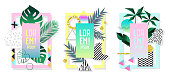 Posters Set with Abstract Geometric Elements and Palm Leaves. Tropical Design Set 80s-90s Fashion for Covers, Placards, Flyers. Vector illustration