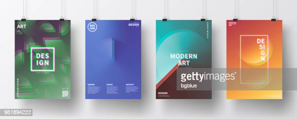 posters with abstract design, isolated on white background - problems stock illustrations