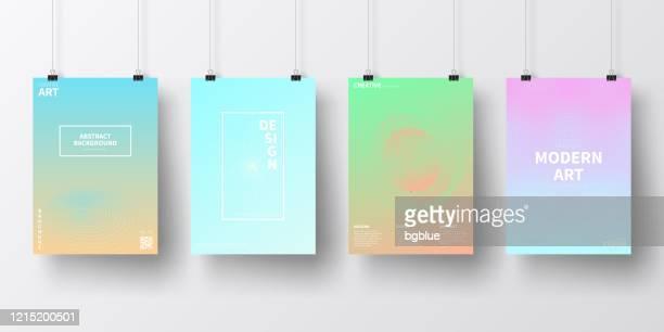 illustrations, cliparts, dessins animés et icônes de affiches avec des conceptions futuristes abstraites, isolées sur le fond blanc - ton pastel
