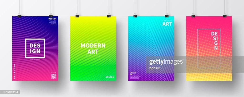 Cartazes com o projeto geométrico colorido, isolado no fundo branco : Ilustração