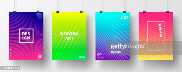 posters with colorful geometric design, isolated on white background - single line stock illustrations