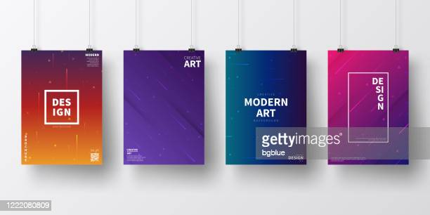 posters with colorful geometric designs, isolated on white background - meteor shower stock illustrations