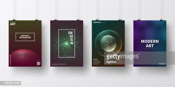 posters with dark futuristic designs, isolated on white background - clip stock illustrations