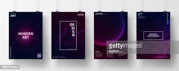 stockillustraties, clipart, cartoons en iconen met posters met donkere futuristische ontwerpen, geïsoleerd op witte achtergrond - tekstveld