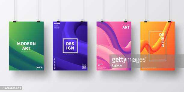 posters with fluid colorful designs, isolated on white background - binder clip stock illustrations
