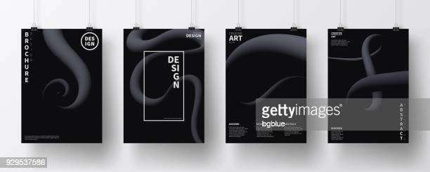 Posters with fluid design, isolated on white background