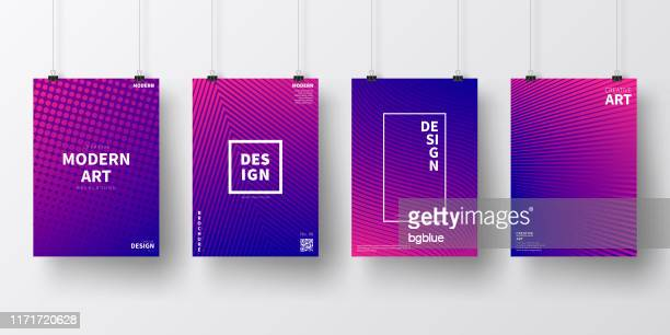 posters with purple geometric designs, isolated on white background - dark blue stock illustrations