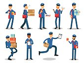 Postman characters doing their job set. Cheerful mailmen in different situations cartoon vector Illustrations