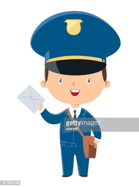 illustrations, cliparts, dessins animés et icônes de facteur tenant un mail - facteur