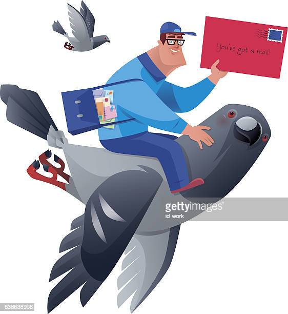 illustrations, cliparts, dessins animés et icônes de postman holing envelope with pigeon - facteur